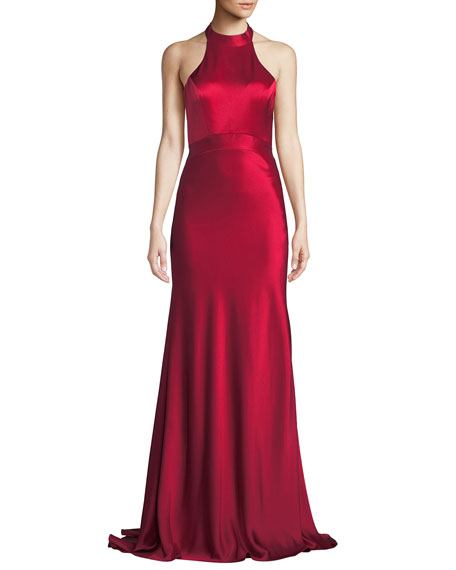 CATHERINE DEANE Kin Satin Halter Gown W/ Open Back in Red