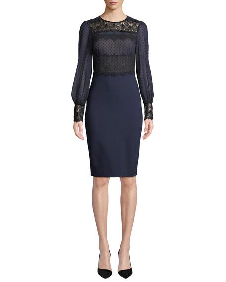 CATHERINE DEANE Lillian Sheer Dot & Lace Long-Sleeve Dress in Blue/Black