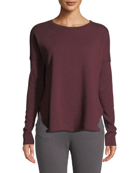 Long-Sleeve High-Low Cotton Fleece Sweatshirt, Vamp