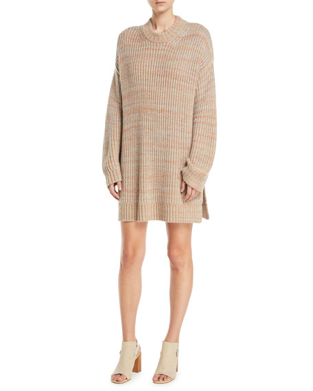 Orra Crewneck Oversized Ribbed Melange-Knit Pullover Sweater Tunic