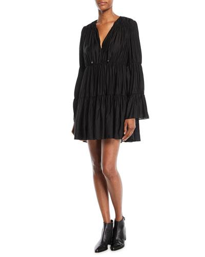 Cheryl Long-Sleeve Tiered & Gathered Mini Dress