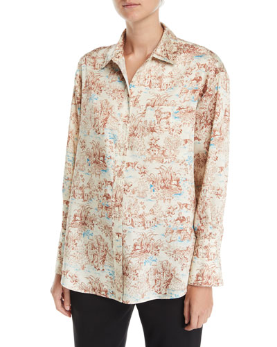 Turner Toile Silk Button-Down Shirt with Pocket