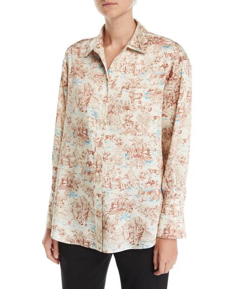 Elizabeth and James Turner Toile Silk Button-Down Shirt