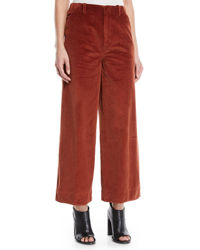 Oakley Semi-Fitted Flared Cropped Corduroy Pants w/ Mitered Back