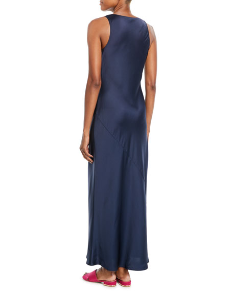 Malta Long Scoop-Neck Sleeveless Satin Slip Dress