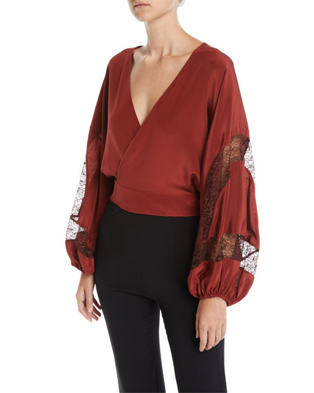 Elizabeth and James Talia Silk Wrap Top with