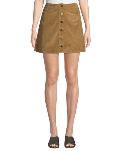 Prewitt Button-Front Corduroy Mini Skirt