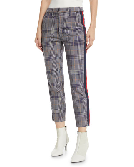 MOTHER The Shaker Prep Fray Plaid Ankle Pants with Stripes 1cf7cbee2cf6