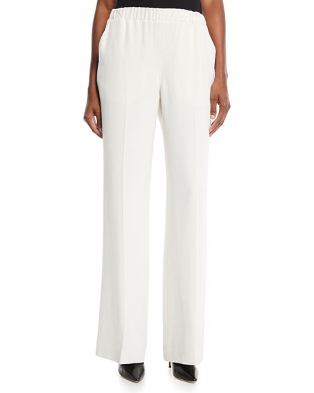 Jones Wide-Leg Pull-On Crepe Pants w/ Crease