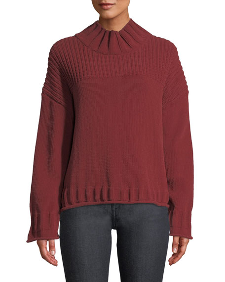 Bo High-Neck Long-Sleeve Pullover Sweater
