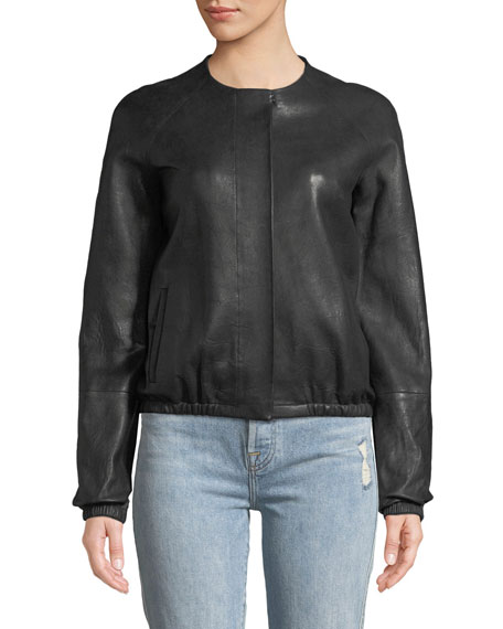 Tinley Collarless Leather Bomber Jacket