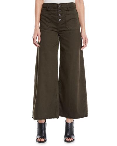 Carmine Button-Fly Wide-Leg Jeans