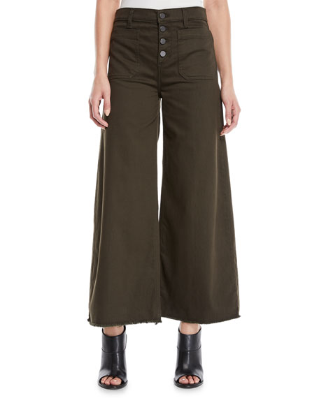 Carmine Button-Fly Wide-Leg Jeans