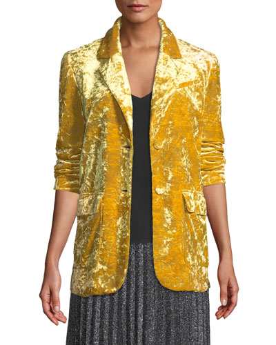 Oversized Velvet Two-Button Blazer
