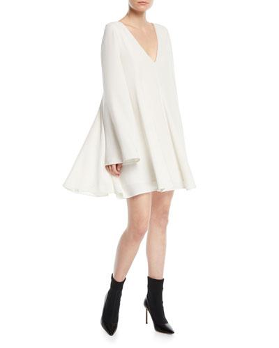 Bethany Long-Sleeve V-Neck Paneled Mini Dress