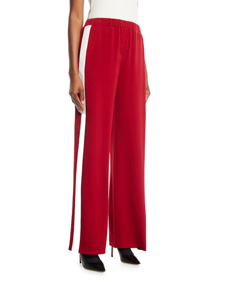 Kelly Side-Stripe High-Rise Crepe Wide-Leg Jogging Bottoms in Red