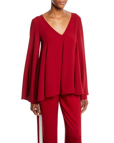 Sabrina V-Neck Long-Sleeve Paneled Top