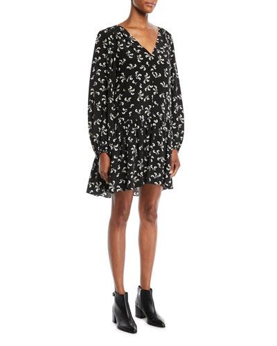 Carlotta V-Neck Long-Sleeve Floral-Print Slim Peplum Dress