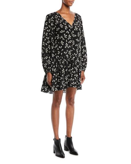 Carlotta V-Neck Long-Sleeve Floral-Print Slim Peplum Dress in Black/Alabaster