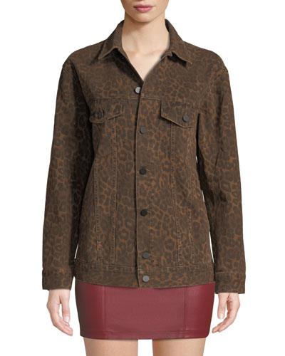 Daze Leopard-Print Denim Jacket