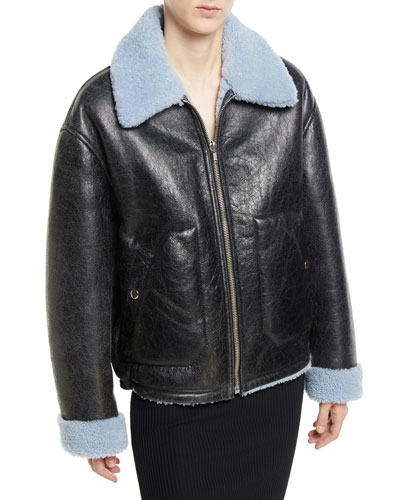 Reversible Leather Shearling Aviator Jacket
