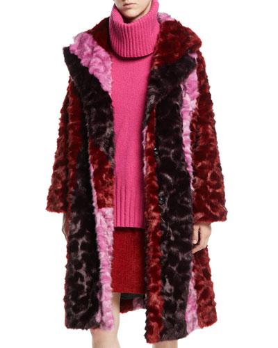 Volume Colorblock Faux-Fur Coat