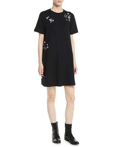 Embellished Crewneck Short Tunic Dress
