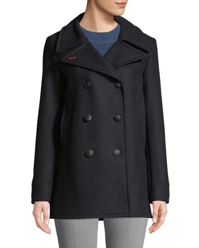 Nella Double-Breasted Wool Pea Coat