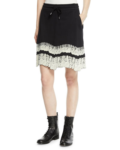 Flared Drawstring Short Skirt with Lace Trim