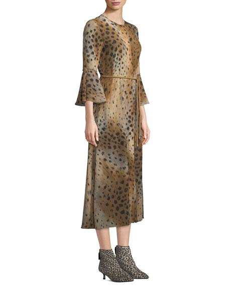 Paloma Agave Leopard-Print Silk Dress