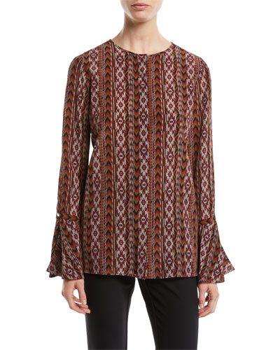 Izzie Kilim Silk Blouse w/ Bell Sleeves