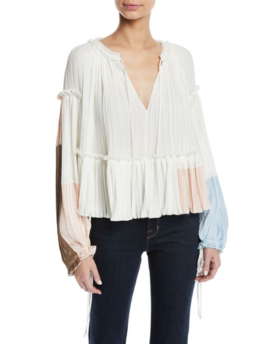 Pleated Colorblock Long-Sleeve Ruffle Top