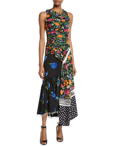 Ruched Patchwork Floral Silk Dress with Chain Fringe