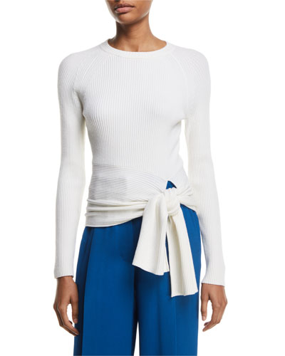 Ribbed Pullover Sweater with Waist Tie