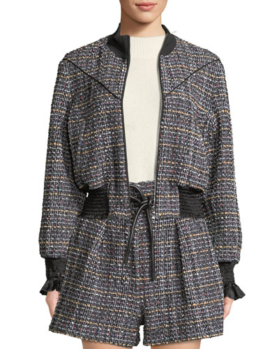 Textured Tweed Zip-Front Track Jacket