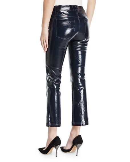 Kiki Patent Leather Flare-Leg Cropped Pants