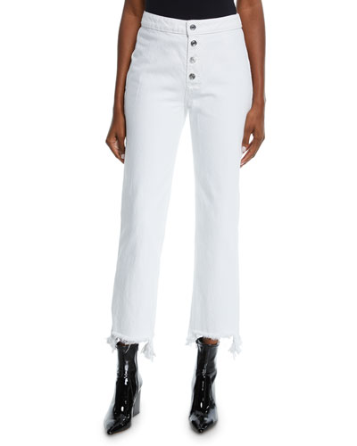 Max High-Rise Button-Front Jeans with Frayed Hem