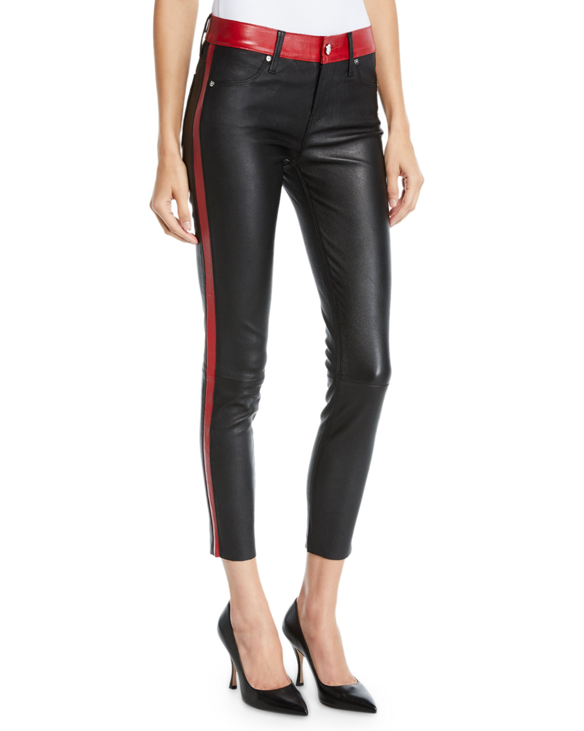 outlet on sale yet not vulgar factory Ryland Two-Tone Skinny Leather Pants