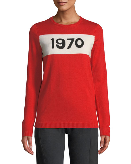 BELLA FREUD 1970 Graphic Wool Pullover Sweater in Red