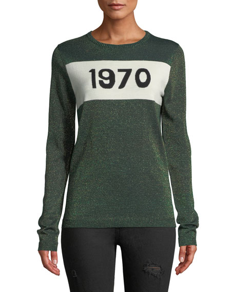 1970 Metallic-Knit Wool-Blend Jumper, Green