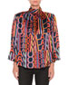 MSGM Printed Satin Boxy High-Neck Blouse with Removable