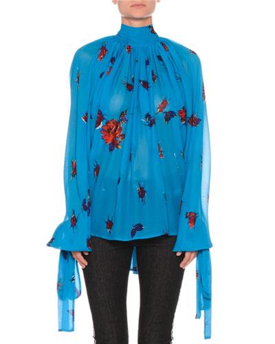 Floral Tie-Neck Shirred Chiffon Top