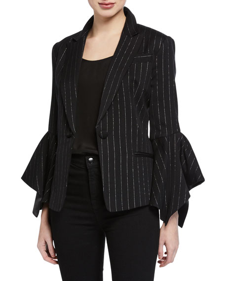 MILLY Metallic Pinstripe Bell-Sleeve Blazer Jacket in Black