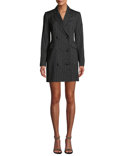 Metallic Pinstripe Blazer Mini Dress
