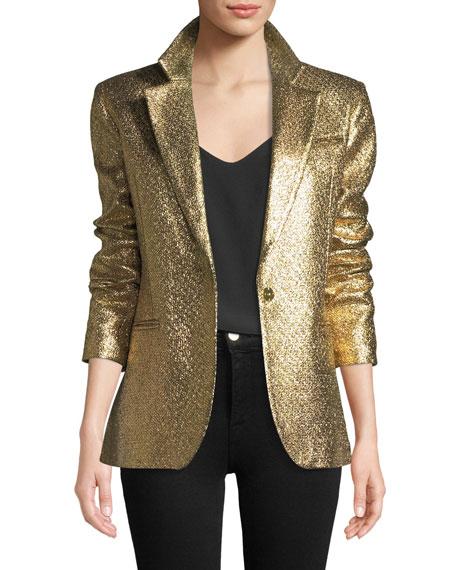 Eva Metallic Blazer Jacket in Gold