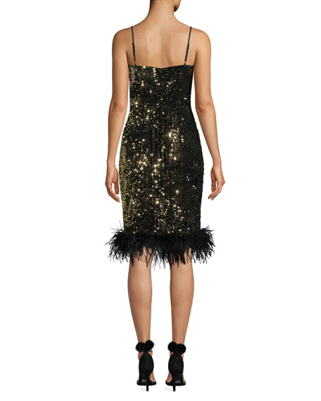 Elle Sequin Velvet Feather-Hem Dress