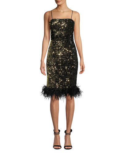 Elle Sequin Velvet Feather-Hem Dress