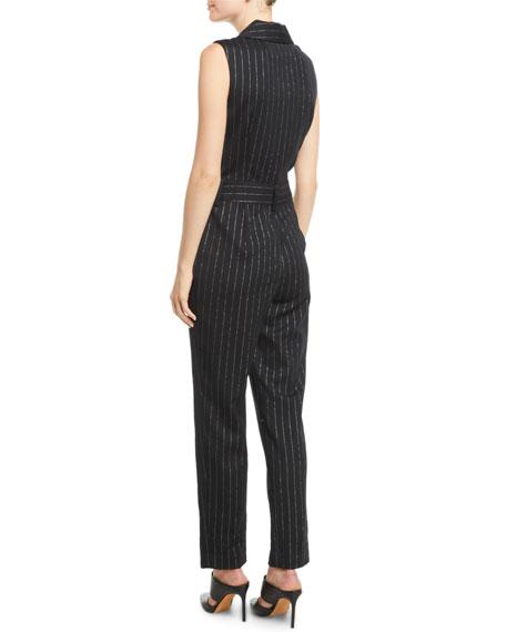 Metallic Pinstripe Tuxedo Jumpsuit