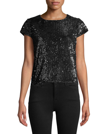 MILLY Sequin Short Sleeve Top in Silver