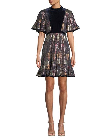 Short-Sleeve Clip Velvet Flounce Dress in Shadow Combo